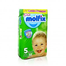 Molfix Baby Diapers 5 Jumbo Pack Junior 52pcs